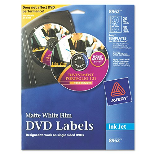 Avery DVD Labels Matte White for Ink Jet Printers (8962) (Professional Sided Single Inkjet)
