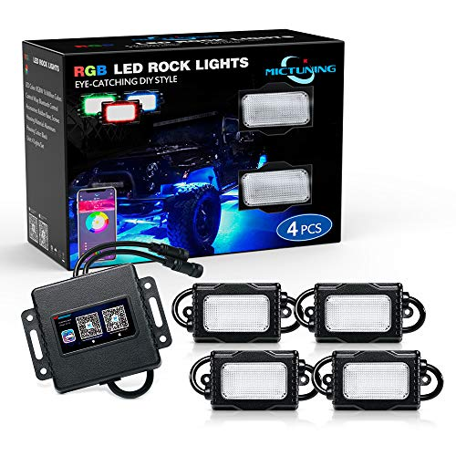 MICTUNING 4Pcs RGB LED Rock Lights - Multicolor Underglow Neon LED Light Kit with Bluetooth Controller, Timing Function, Music Mode