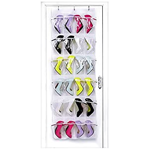 HIPPIH 24 Pockets Over The Door Shoe Organizer Crystal Clear Hanging Storage Bag with 3 Hooks
