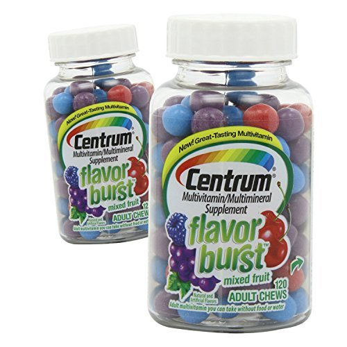(2 Pack) Centrum Flavor Burst Adult Chews, Mixed Fruit, 120 Ct ea.