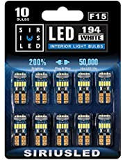 SIRIUSLED -F15- 194 bombillas LED extremadamente brillantes 4014 Chipset para coche, camión, interior, cúpula, mapa, puerta, marcador de matrícula, luces compactas T10 168 2825, paquete de 10