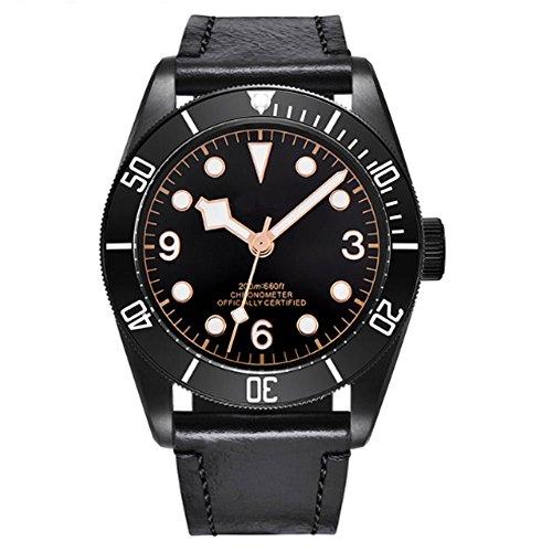 41mm Black Dial Black PVD Coated Case 200M Waterproof Japan Automatic Movement Men's Wristwatch Luminous
