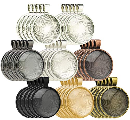Bastex 40 Piece Pendant Trays. 8 Different Colors with a Round Bezel Setting. Includes 40 Glass Cabochon Dome. 25mm / 1 Inch Diameter. (Pendant Making Glass Kit)