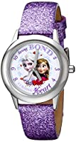 "Disney Kids' W000972 ""Frozen Tween Anna Snow Queen Elsa"" Stainless Steel Watch with Purple Band by Disney"