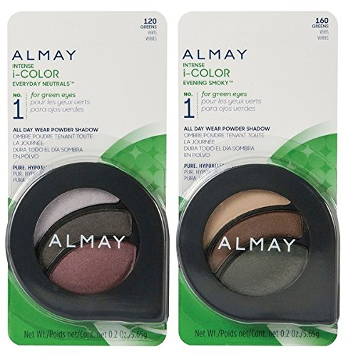 Almay Cosmetics Intense I-Color Everyday Neutrals (120 Greens) and Evening Smoky (160 Greens) Eyeshadow Bundle For Green Eyes, All Day Wear Powder Shadow, Pure, Hypoallergenic, 0.2 oz each]()