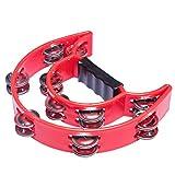 Tosnail Plastic Handheld Tambourine - Double Row 20 Pairs Jingles - Red