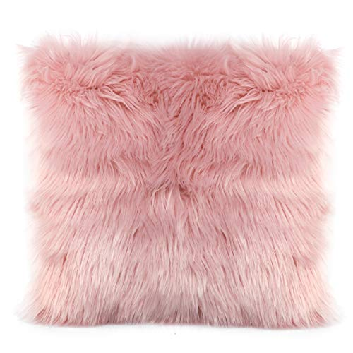 (Ojia Faux Fur Throw Pillow Cover Lumbar Cushion Case Super Soft Plush Accent Pillows Case Decorative New Luxury Series Style (20 x 20 Inch, Thick Pink))