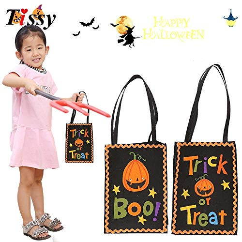 Trick Or Treat Bucket Trick Or Treat Totes New!1PC Halloween Gift Bags Kids Candy Bag Boo&Trick or Treat Halloween Gift Holder Bags for Halloween Party Kids Gift (Random) ()
