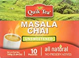 Quik Tea All Natural Masala Chai Latte Unsweetened Mix Made from Assam Teas All Natural No Preservatives 10 Pouches (160 g / 5.64 oz)