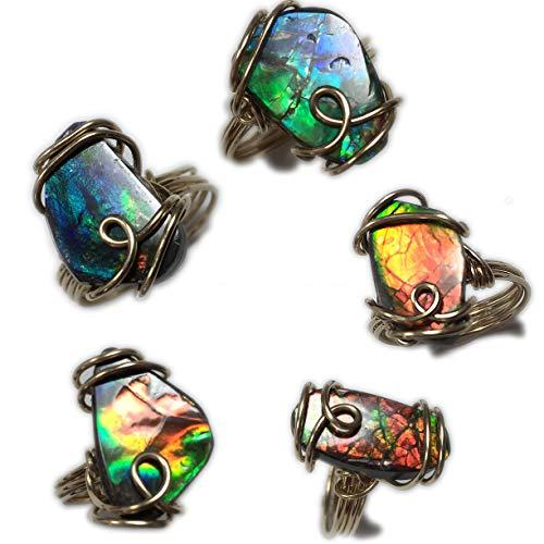 (Rocks2Rings Ammolite Ring Solitaire 14K Gold - Filled Genuine Ammolite Jewelry, Ring Size 5, 6, 7, 8 or 9 Elegant Gift Box GRA Z)