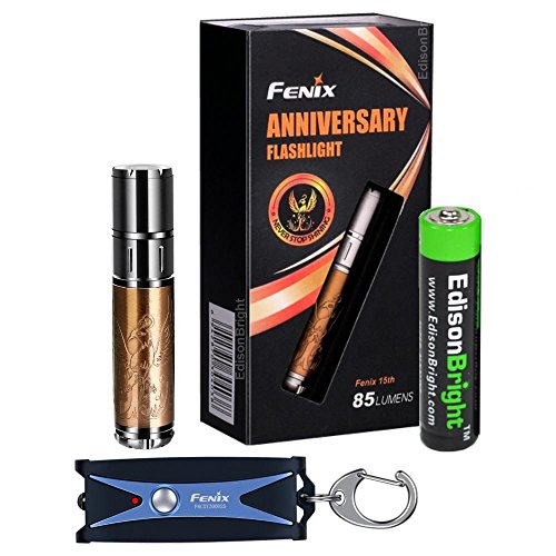 Fenix 15th Anniversary Special Edition rose gold plated 85 Lumen LED flashlight, Fenix UC01 rechargeable keychain light with EdisonBright AAA alkaline battery