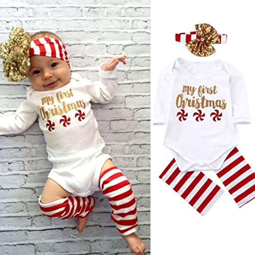 AMA(TM) Baby Boy Girl Christmas Set Romper Jumpsuit Bodysuit + Hairband + Leg Warm (18M, White) (Sexy Thanksgiving Pictures)