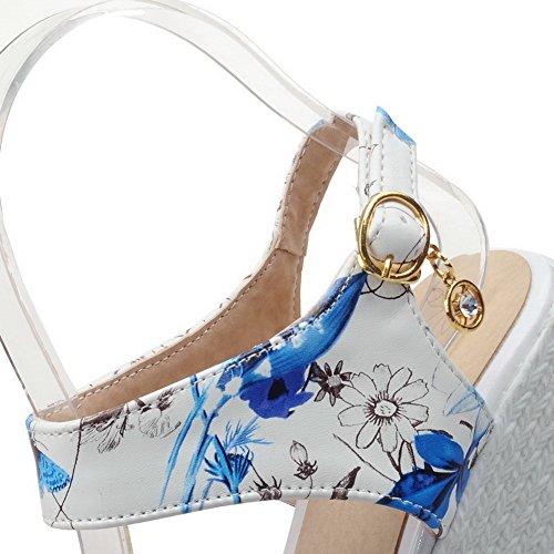 Ouverture Matière Boucle Femme à Mélangee Talon Bleu GMBLB014146 Sandales d'orteil Haut AgooLar wIZqZ