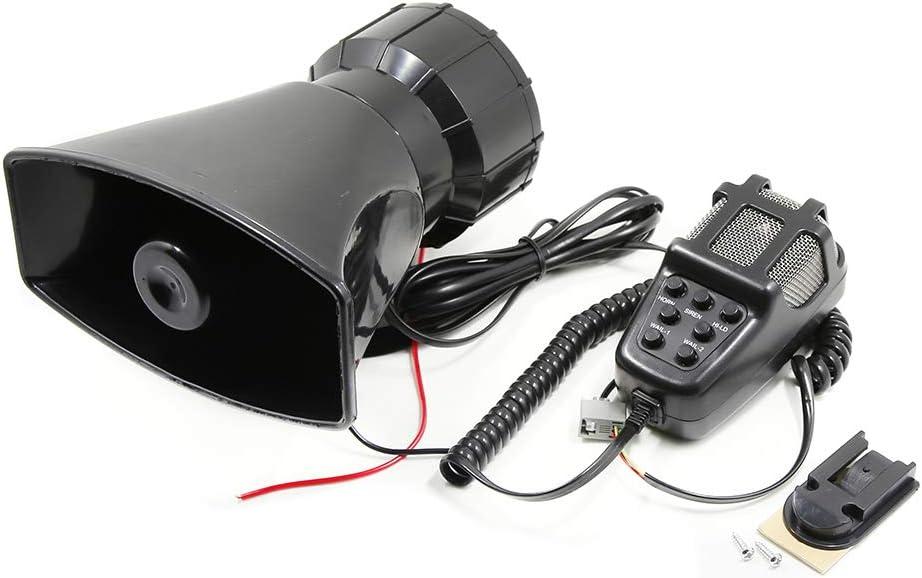 Fesjoy Meg/áfono del coche Bocina de alarma de 7 tonos 12V 110dB Altavoz Altavoz Alarma de incendio Ambulancia A todo volumen Sirena de polic/ía