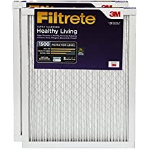 Filtrete MPR 1500 12 x 24 x 1 Healthy Living Ultra Allergen Reduction HVAC Air Filter, Guaranteed Airflow up to 90 days, 2-Pack
