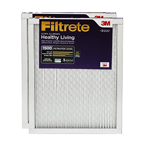 Filtrete MPR 1500 16 x 25 x 1 Healthy Living Ultra Allergen Reduction AC Furnace Air Filter, Guaranteed Airflow up to 90 days, Captures Microscopic Particles like Bacteria & Viruses, 2-Pack
