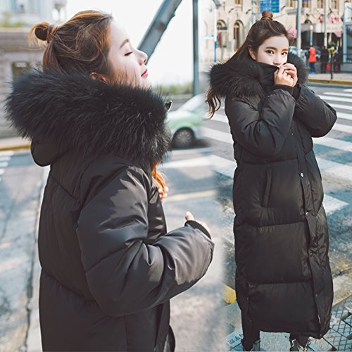 Xuanku Cotton In The Long Section Of The Winter Loose Thickening Of The Bread Served Over The Knee Big Collar Collar Cotton Jacket Black