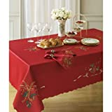 """Lenox Holiday Linens Nouveau Cutwork Tablecloth Oblong Red 52"""" X 70"""""""