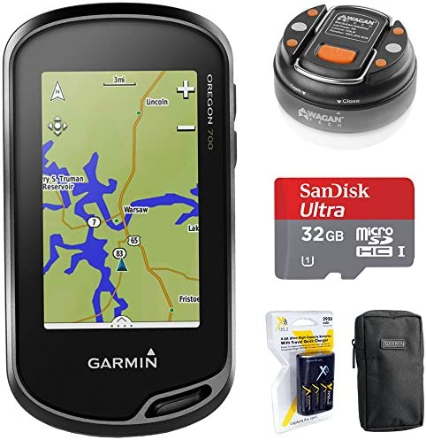 Garmin Oregon 700 Handheld GPS with Built-in Wi-Fi Bluetooth 010-01672-00 32GB Memory Card LED Brite-Nite Dome Lantern Flashlight Carrying Case 4X AA Batteries w Charger