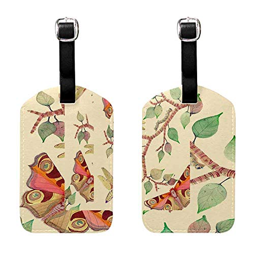 Women's Luggage Tag Butterfly and flower, yellow background (1) Leather Strap - Set of 2