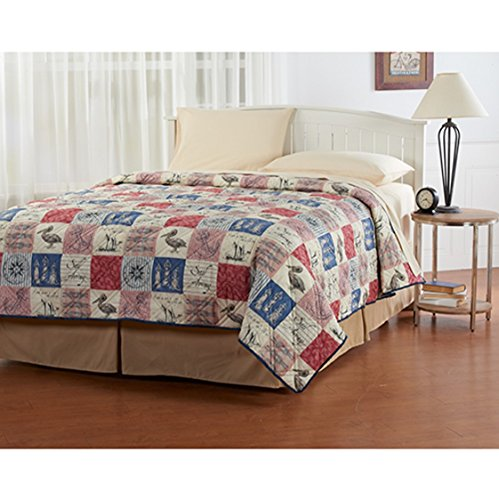 Ashley Cooper Nautical Patchwork Quilt, King, Lightweight, 100% Polyester, 102