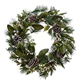 PINE AND PAINT LLC Lighted Evergreen Christmas Wreath 30 Inches Winter Holly Leaves Pinecones