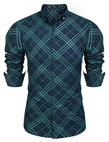 (COOFANDY Men's Casual Button Down Shirts Long Sleeve Cotton Slim Fit Printed Plaid Dress Shirt Green )