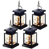Hanging Solar Lights, Outdoor Hanging Lanterns Lights Solar Fairy String Lights Outdoor Dusk to Dawn Auto On/Off for Garden Patio Yard, Warm White (4Pack)