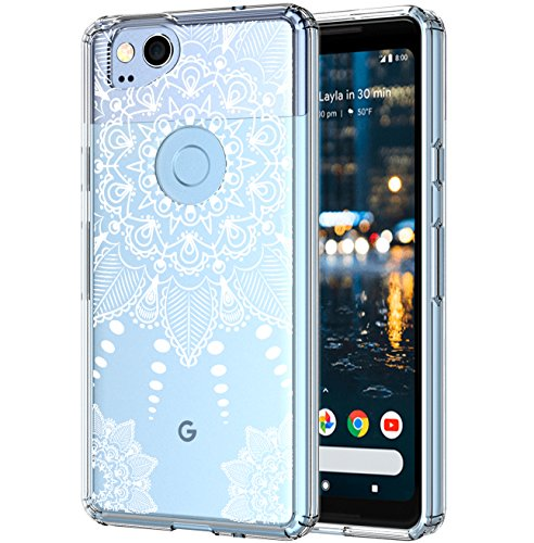 Google Pixel 2 Case Crystal Clear,LUHOURI White Henna Mandala Floral Case for girls, Transparent Plastic with Clear TPU Bumper Protective Back Phone Case Cover for Google Pixel 2