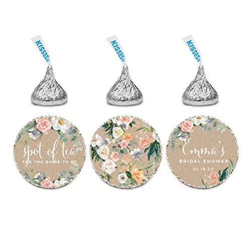 Andaz Press Peach Coral Kraft Brown Rustic Floral Garden Party Wedding Collection, Personalized Chocolate Drop Label Stickers Trio, 216-Pack, Custom Name, Fits Hershey's Kisses Party (Garden Personalized Chocolate)