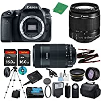 Canon EOS 80D Camera with 18-55mm IS STM + 55-250mm STM + 2pcs 16GB Memory + Case + Memory Reader + Tripod + ZeeTech Starter Set + Wide Angle + Telephoto + Flash + Filter