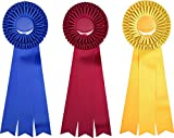 GIANT First, Second, and Third Place Prize Ribbon Set - 3 pieces - 18'' Long - Award Rosettes - USA Made - Traditional Blue, Red, Yellow