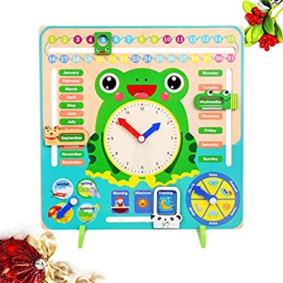 TOYANDONA Wooden Calendar Clock Toy Learning Time Date Season Weather Early Educational Toy for Baby Infant Newborns: Toys & Games
