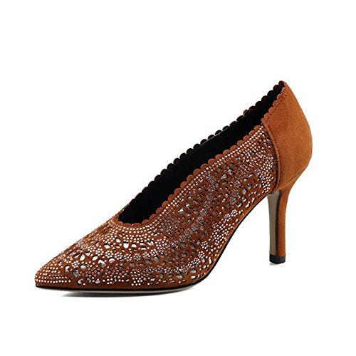 Tacón Boca Fino de QXH Superficial Paño de Sandalias Mujer Puntiagudo Brown Zapatos qXqx4wFf