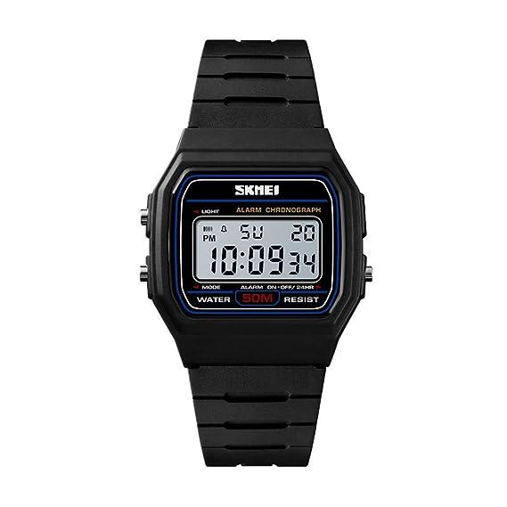 Reloj Digital Impermeable Hombres Deportes Relojes de Moda con Alarma Cronómetro Regalo Luminoso para Parejas (