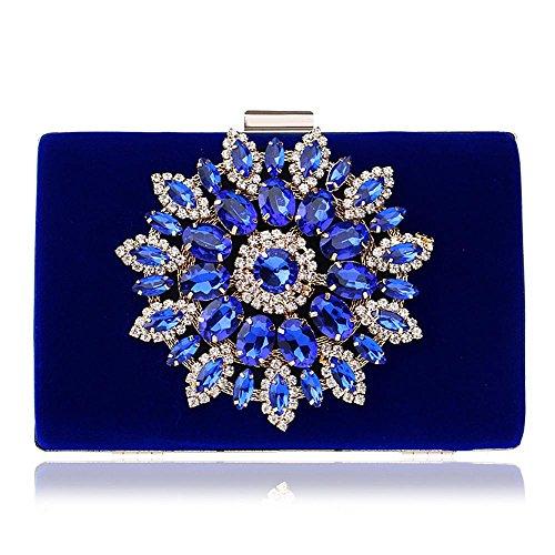 per sera donna in da da sposa Borsa Handbag TUTU strass Clutch raso cristallo bordino in blue blue evento da sera festa Borse con da pWOqEWwH