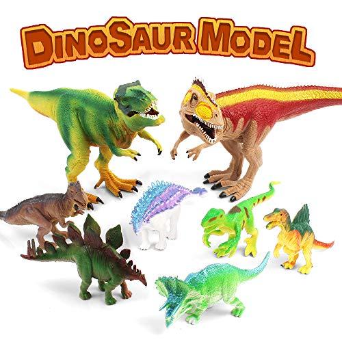Benyi Realistic Dinosaur Toys,10 Large Dinosaur Figures,Lifelike Jurassic World Dino,Dinosaur Toys Set for Toddlers Kids,Pack of 8 PCS
