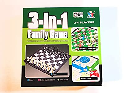 3 in 1 Classic Big Board Games - Chess, Ludo, Snakes and Ladders