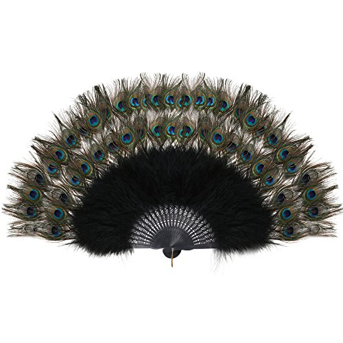BABEYOND Roaring 20s Vintage Style Peacock & Black Marabou Feather Fan Flapper Accessories for Costume Halloween Dancing Party Tea Party Variety Show (Black Rib with Double-Layer Peacock Feather)