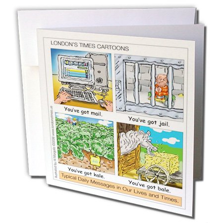 3dRose Londons Times Funny Computer Cartoons - You ve Got Mail. and Other Everyday Messages - 6 Greeting Cards with envelopes (gc_2866_1)