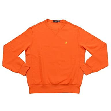 Polo Ralph Lauren Mens Fleece Crewneck Sweatshirt (Bright Signal Orange, S)