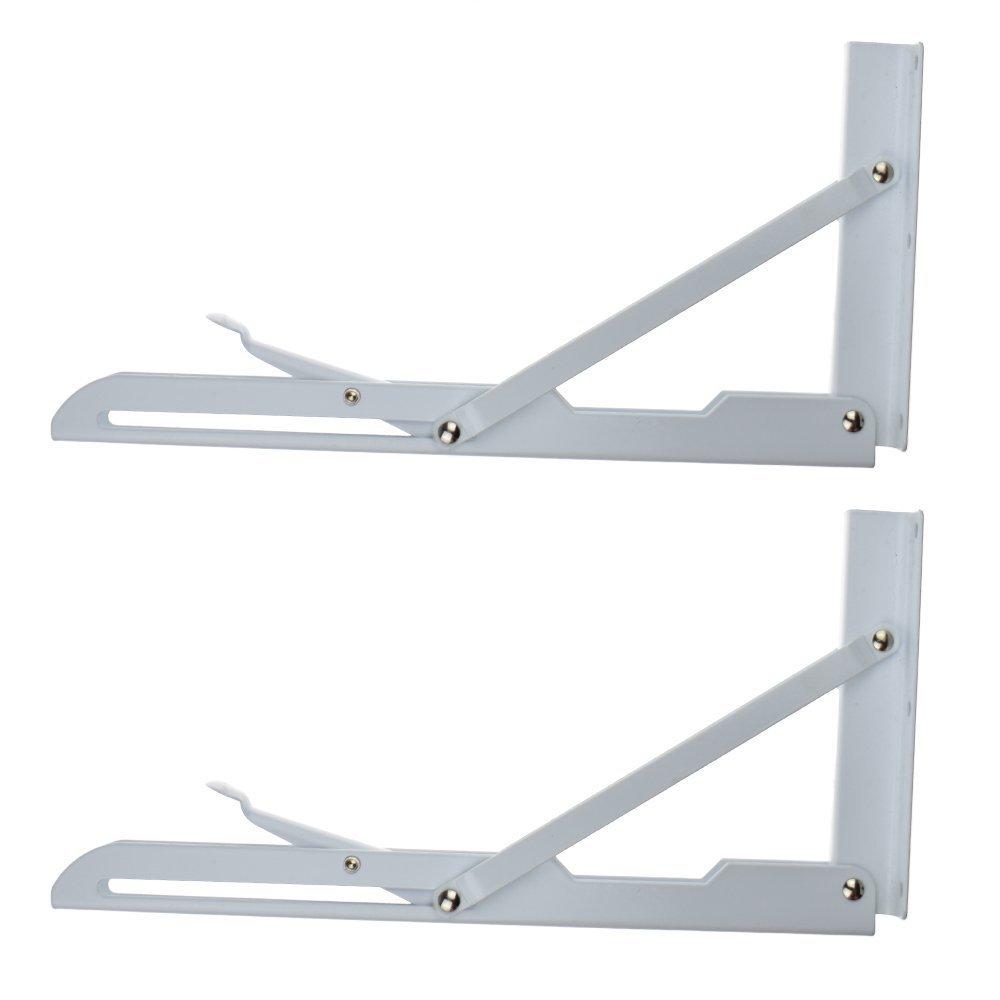 2 Pcs Sturdy Folding Shelf Brackets White Hinge Wall Mounted Metal Triangle Table Bench Folding Shelf Bracket (12 Inch) by YOMNEE (Image #2)