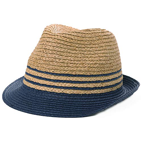 Womens Mens Raffia Straw Fedora Brim Panama Beach Crushable Packable Havana Summer Sun Hat Party Ladies Navy Blue Large