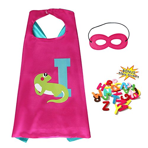 Flying Childhood Super Hero Cape & Mask Costume with DIY 52 Letters Superhero Kits Set for Kids Dress Up Party Supplies (Diy Superhero Costume Woman)