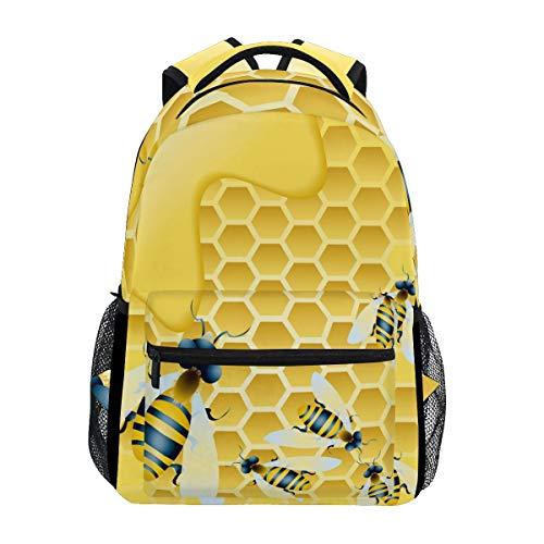 Bee Honey Nest Shoulder Backpack Student Bookbags for Travel Kid Girls Boys