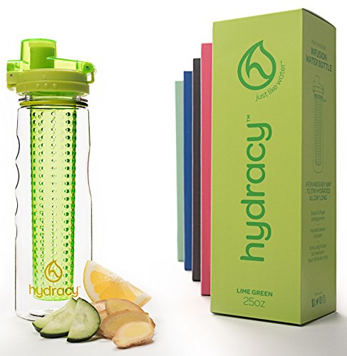 Hydracy Fruit Infuser Water Bottle - 25 Oz Sport Bottle with Full Length Infusion Rod and Insulating Sleeve Combo Set + 25 Fruit Infused Water Recipes eBook Gift - Lime (Healthy Gift)