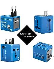 Adaptador de Viaje, Cargador de Pared con Doble Puerto de Carga USB y convertidor de enchufes Universal Valido para USA, EU, UK, AUS, móviles y portátiles