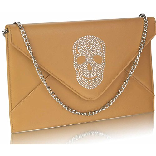 TAN FLAP Skull Women's CWE00228 LeahWard Diamante Clutch Flap SKULL Crystal Bag Handbag EqzSSPn