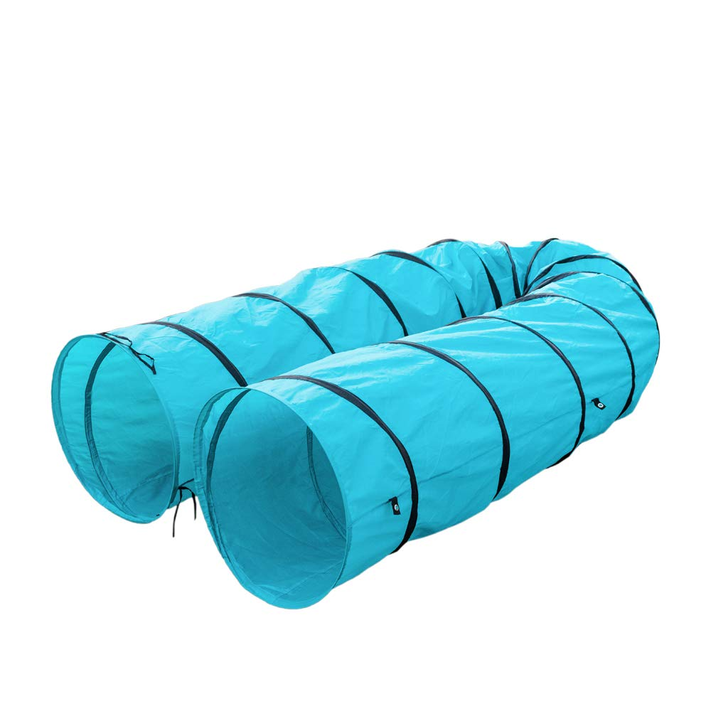 AYNEFY Pet Tunnel, 18Ft Long Pet Agility Training Tunnel Tube Open Cat Dog Play Toy Outdoor Obedience Exercise Equipment with Carrying Bag Blue by AYNEFY
