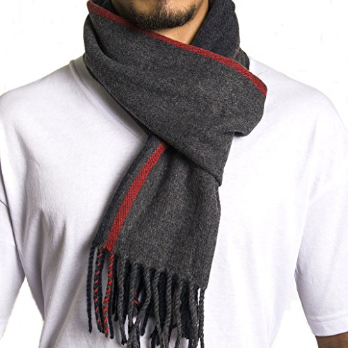 Mens Winter Scarves - Alpine Swiss Mens Plaid Scarf Soft Winter Scarves Unisex,Red Stripe,One Size